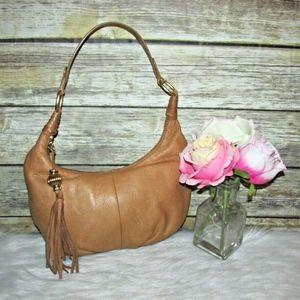 Sigrid Olsen Tan Brown Leather Tassel Hobo Bag